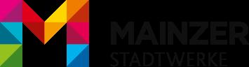Logo der Mainzer Stadtwerke — M in verschiedenen Farben und Mainzer Stadtwerke ausgeschrieben